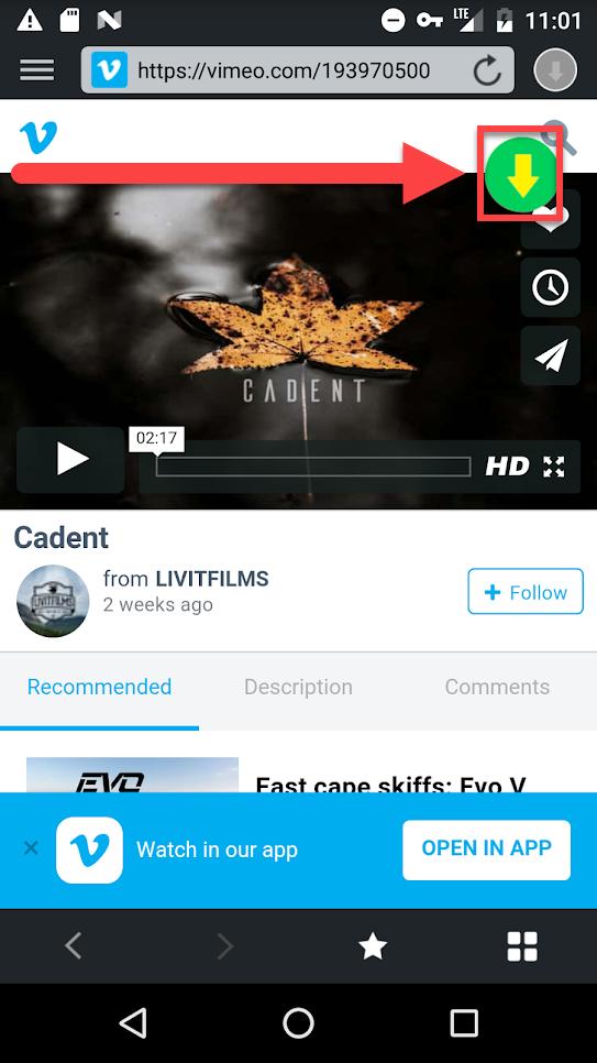 Приложение Video downloader загрузка ролика