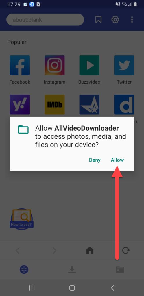 Приложение «Загрузчик всех видео бесплатно» предоставление прав