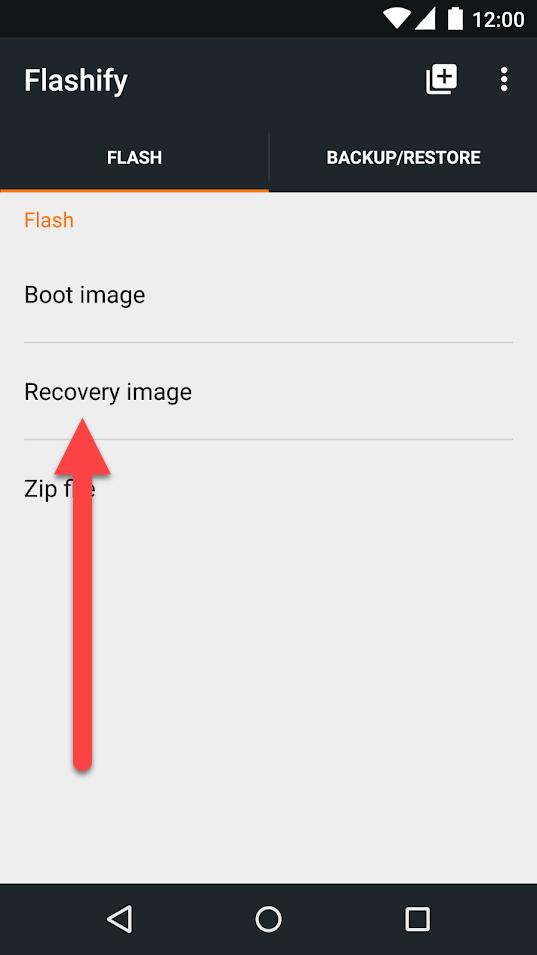 Flashify из Google Play - Recovery Image