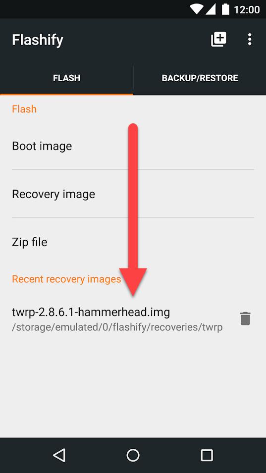 Flashify из Google Play - выбор образа