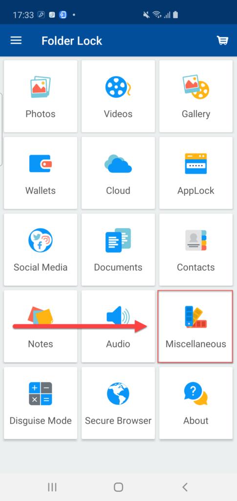 Раздел Miscellaneous Folder Lock