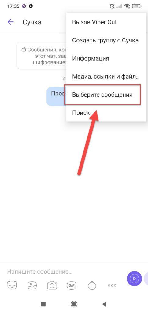 Пункт Выбрать сообщения в Вайбер