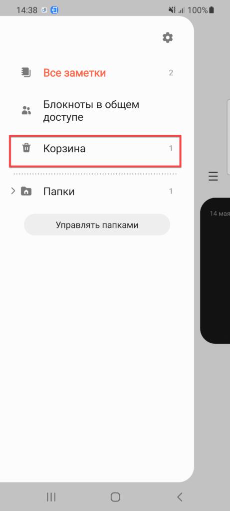 Заметки на телефоне - вкладка Корзина