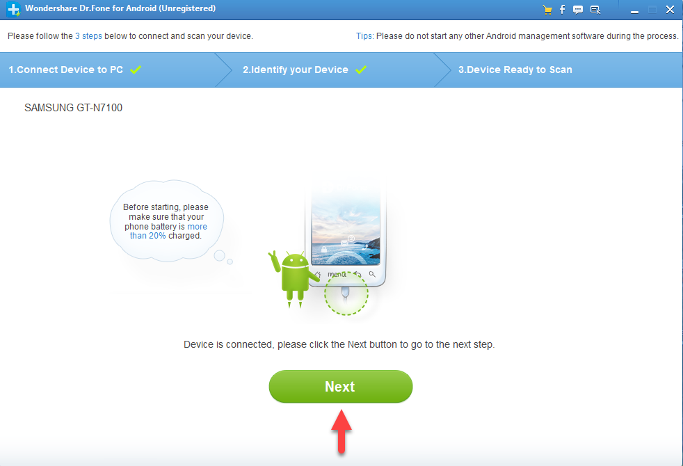 Dr.Fone - Data Recovery (Android) установка