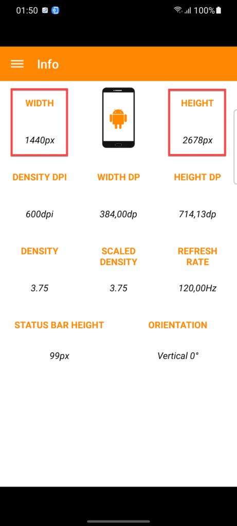 Приложение Screen Info информация о разрешении экрана