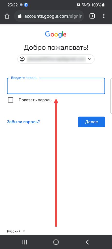 Указываем пароль Google