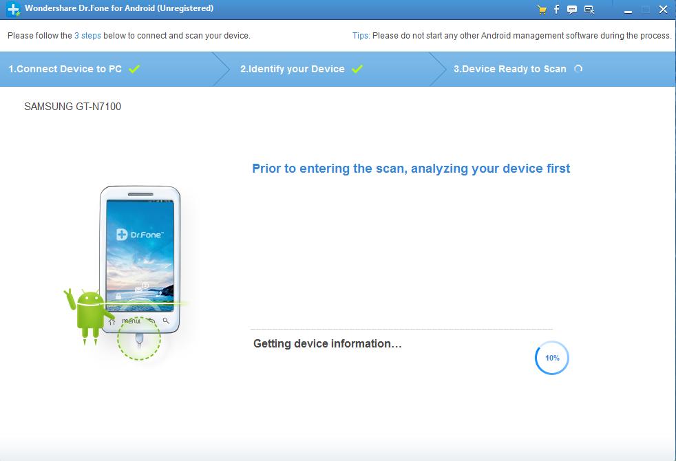 Dr.Fone - Data Recovery (Android) процесс восстановления