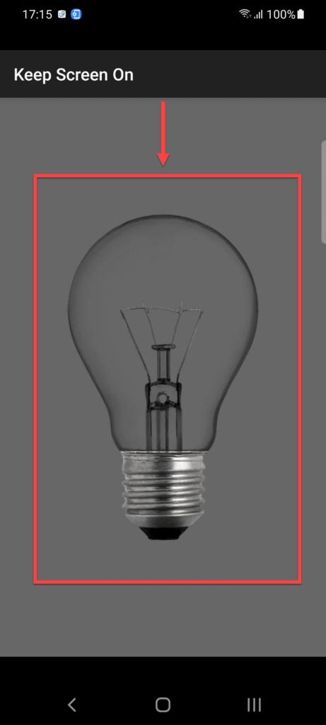 Приложение Негаснущий экран Андроид нажимаем на лампу