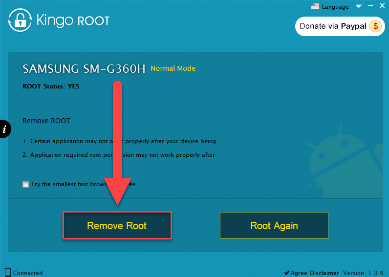Удаление root на Андроиде через Kingo Root