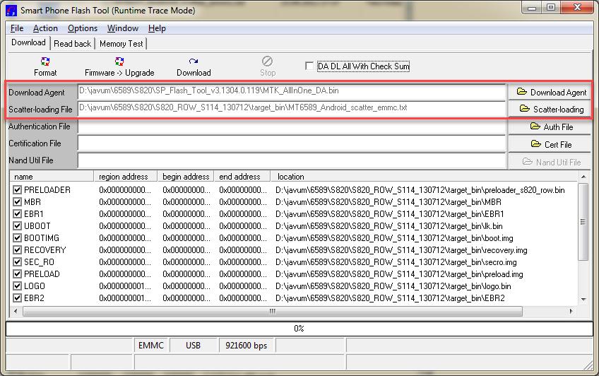 FlashTool выбираем файл скаттер