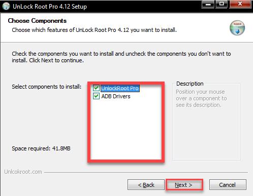Unlock Root на ПК выбираем компоненты