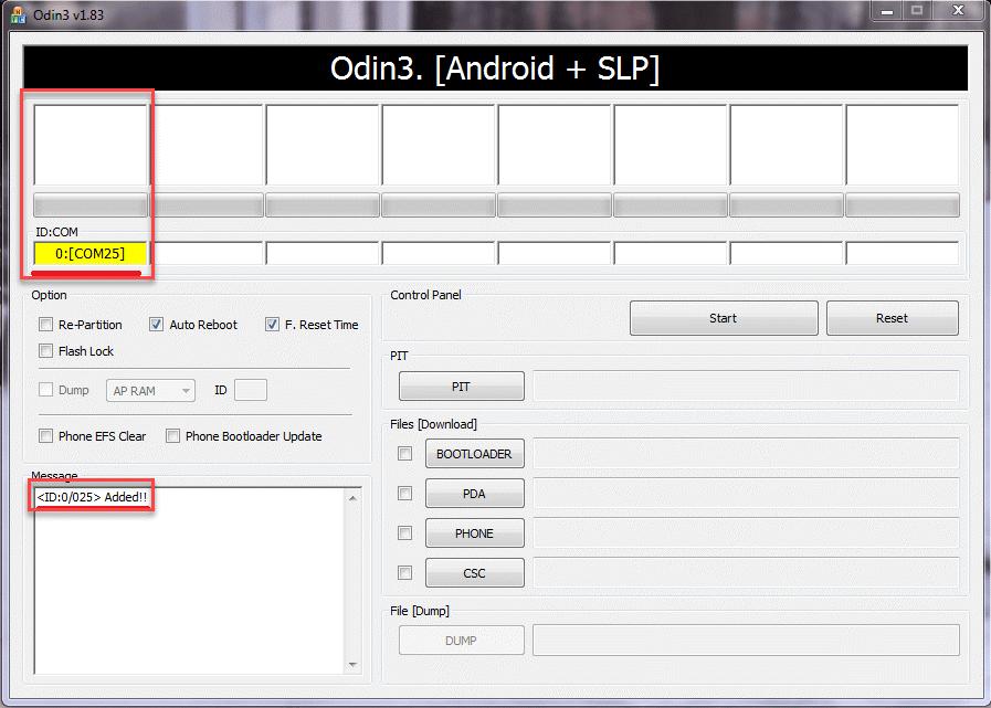 Программа Odin3 отображение устройства