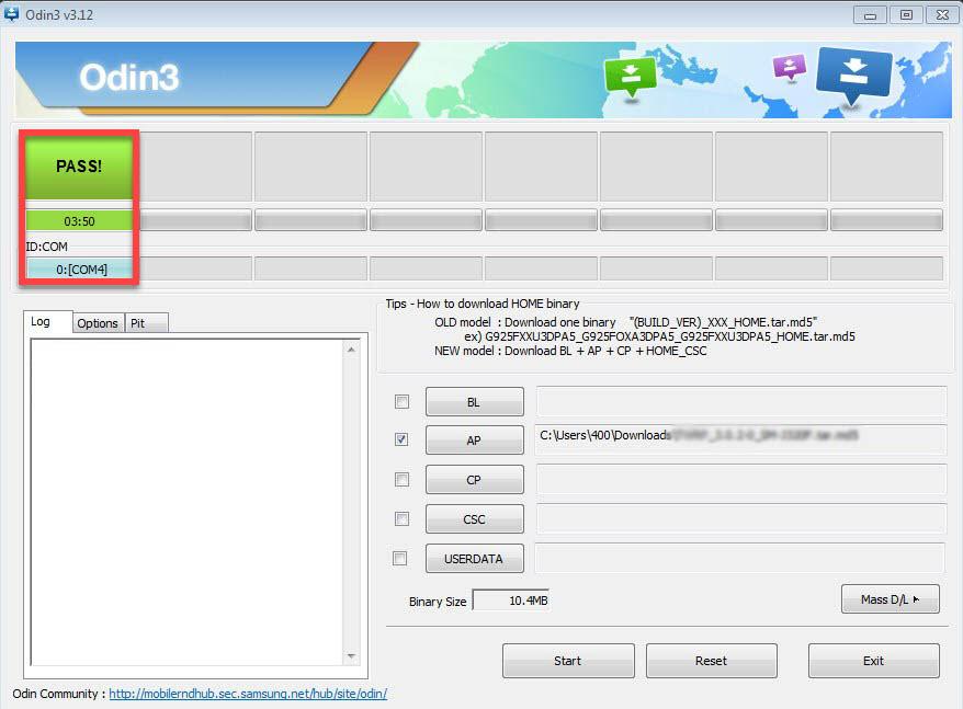 Программа Odin3 вкладка PASS