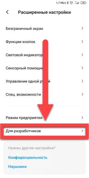 Вкладка Для разработчиков Андроид