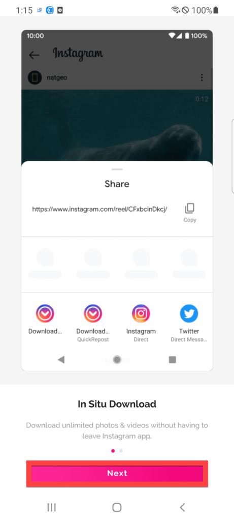 Downloader for Instagram Андроид нажимаем Next