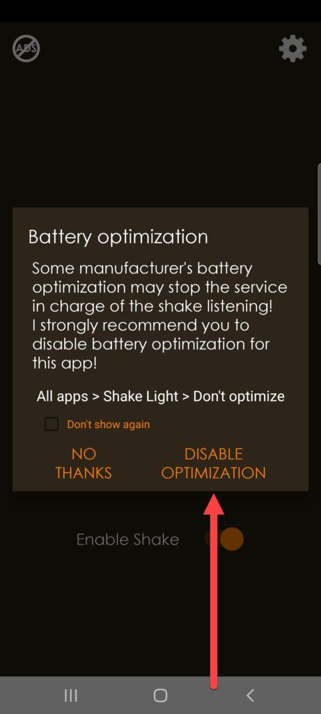 Shake Light приложение Андроид энергосбережение