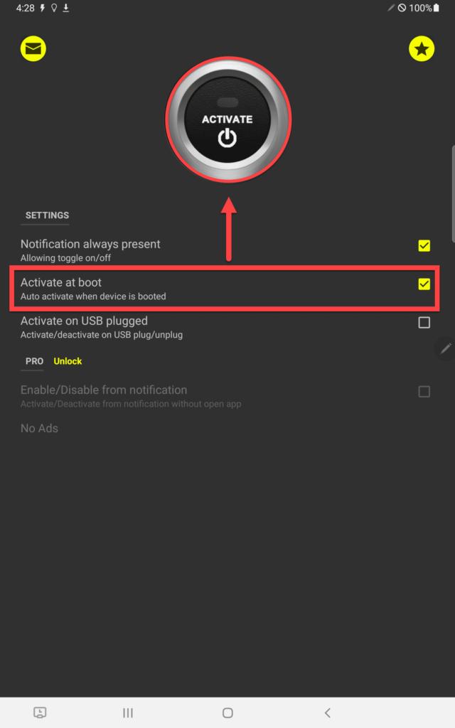 Приложение Stay Awake пункт Activate as Boot