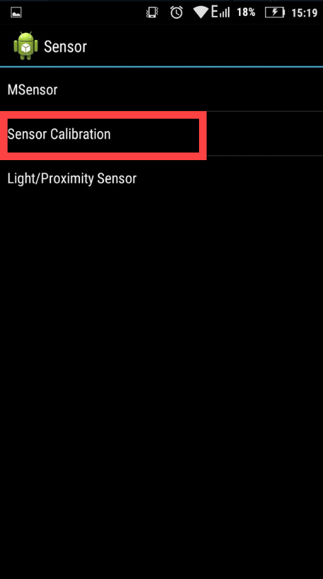 Инженерное меню Андроид вкладка Sensor Calibration
