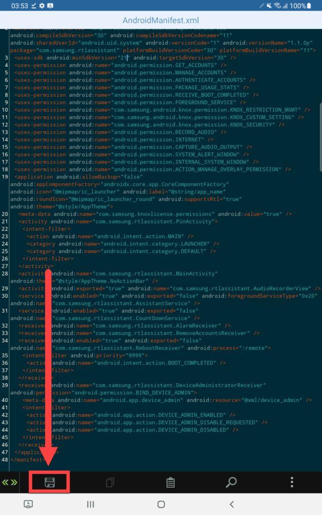 APK Editor Android - сохранить