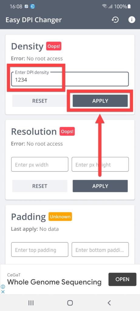 Easy DPI Changer Андроид настройка