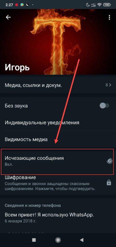 Ватсап на Андроиде - Отключение исчезающих сообщений