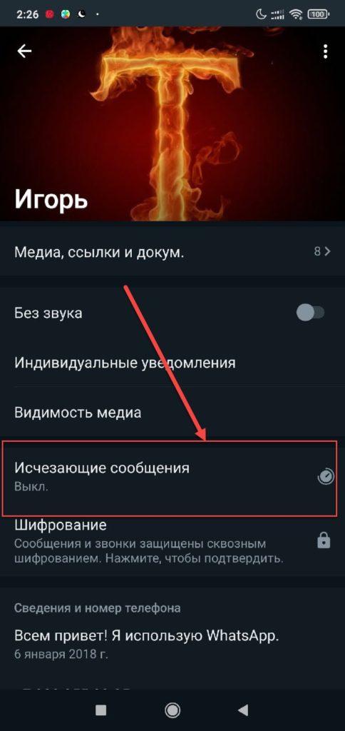 Ватсап на Андроиде пункт Исчезающие сообщения