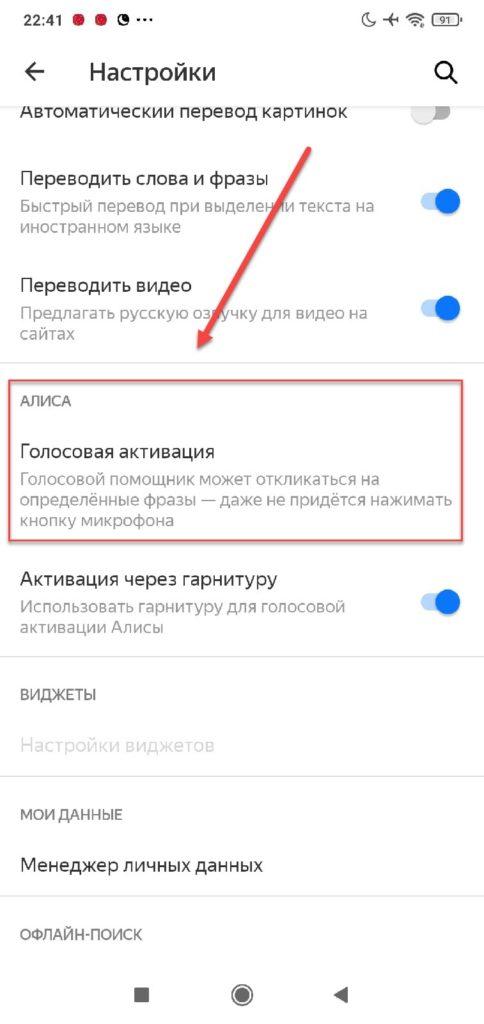 Пункт Голосовая активация в Яндекс браузере
