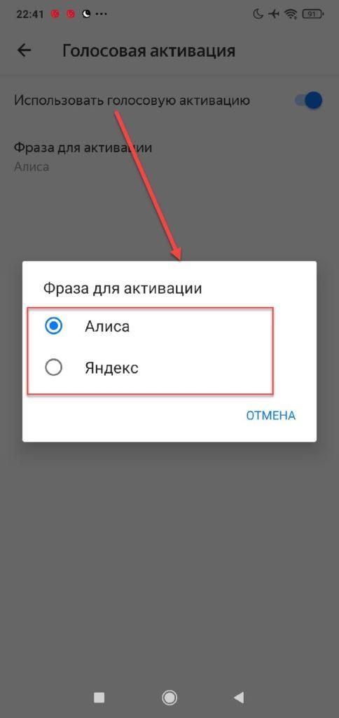 Фраза для активации Алисы в Яндексе